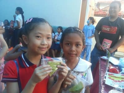 Customers with pandan cakes